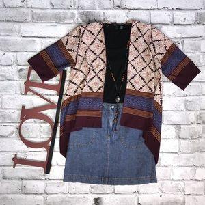 Suzy Shier Boho Print Kimono Cardigan Medium